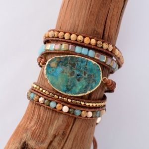 handmade Pendant bead wrap bracelet turquoise